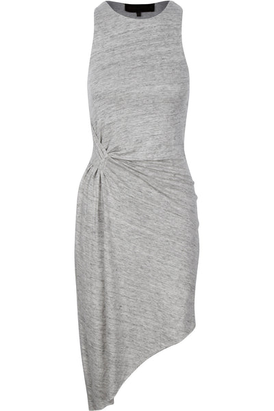 ASYMMETRIC RUCHED DRESS GREY