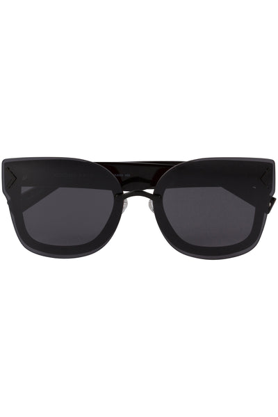 PRISCILLA BLACK ACETATE AND SMOKE-TONE SUNGLASSES