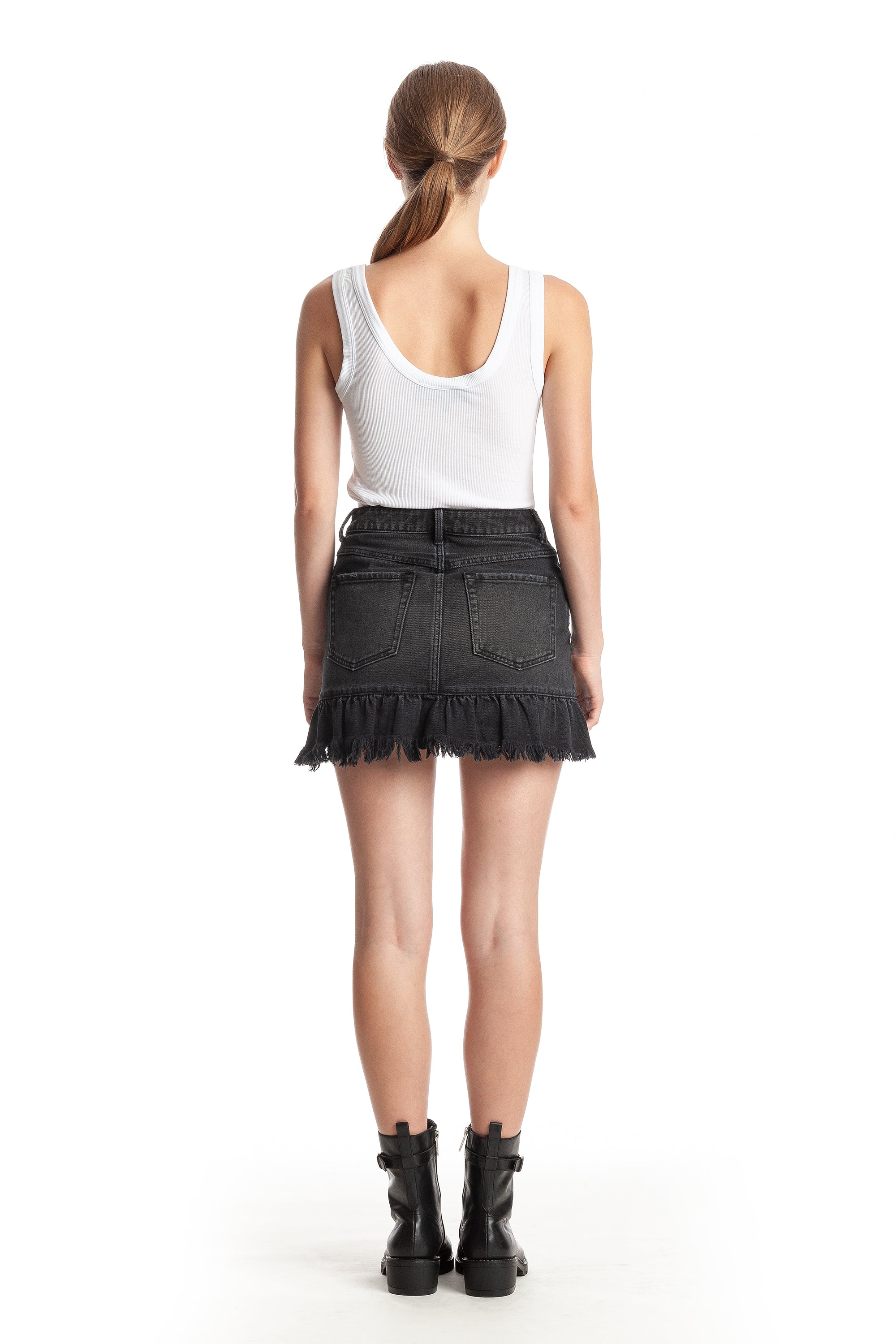 DESTROYED RUFFLE BACK SKIRT PANTS by KENDALL + KYLIE