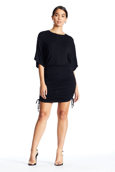 SHORT SLEEVE RUCHED DRESS