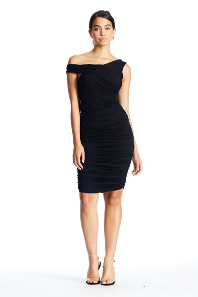 SLEEVELESS RUCHED DRESS