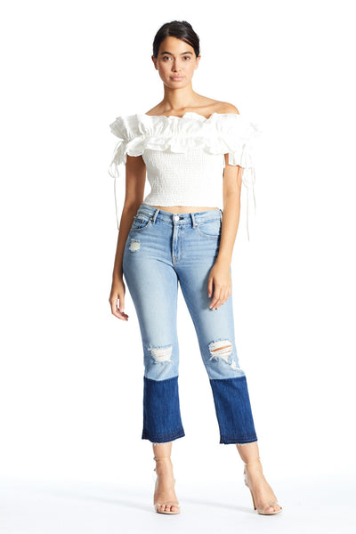 RUFFLE SMOCK TOP TOP by KENDALL + KYLIE