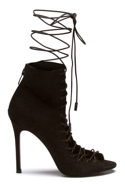 GINNY BLACK SUEDE LACE-UP BOOTIE