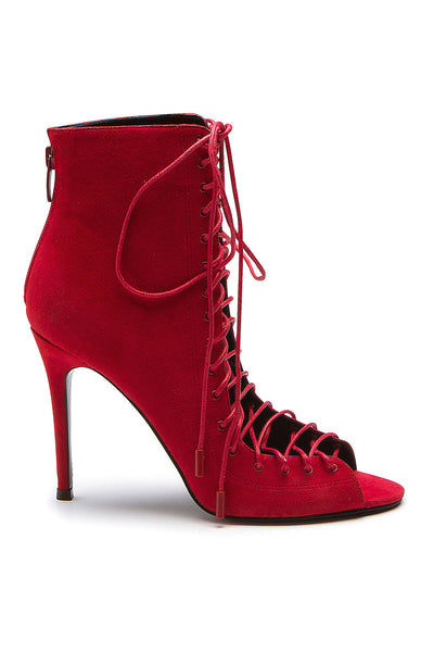 GINNY RED SUEDE LACE-UP BOOTIE