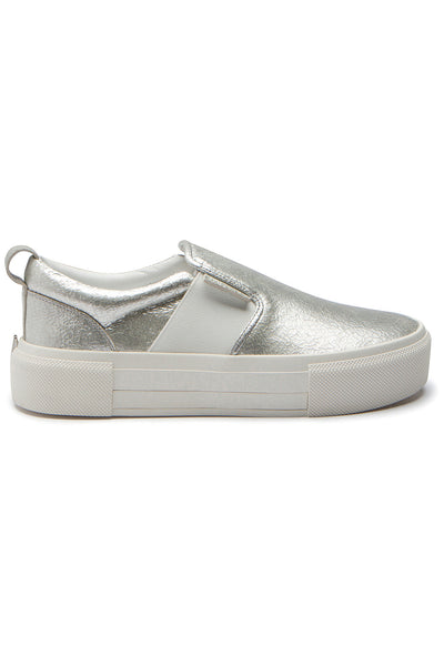 TENLEY SILVER LEATHER SNEAKER SHOES by KENDALL + KYLIE