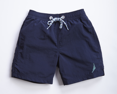 nautical boys sailing swimwear swim trunks swimsuit designer classic navy blue nautical Americana