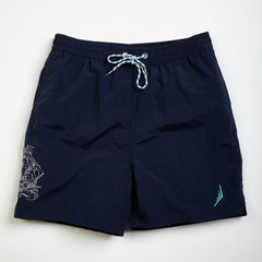 custom embroidery mens swim trunks swimsuit collection designer classic navy sailing ship