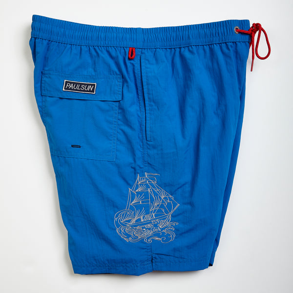 custom embroidery mens swim trunks swimsuit collection designer classic royal sailing ship
