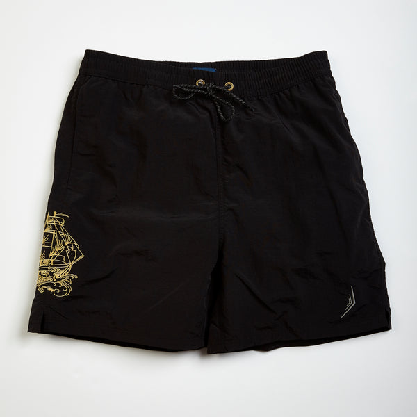 custom embroidery mens swim trunks swimsuit collection designer classic black sailing ship