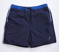 nautical Americana mens swimsuit swim trunks classic style designer navy blue