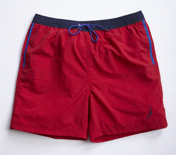 nautical Americana mens swimsuit swim trunks classic style designer red