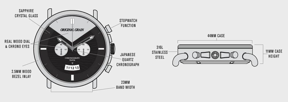 Specs & Dimensions of Original Grain Chronogragh Watch