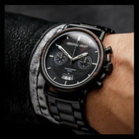 Aviator - Alterra Chronograph Ebony Wood & Steel Watch by Original Grain