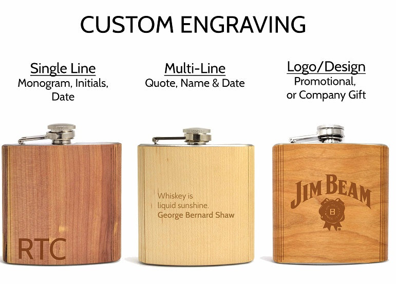 Custom Engraved Walnut Wood Flask