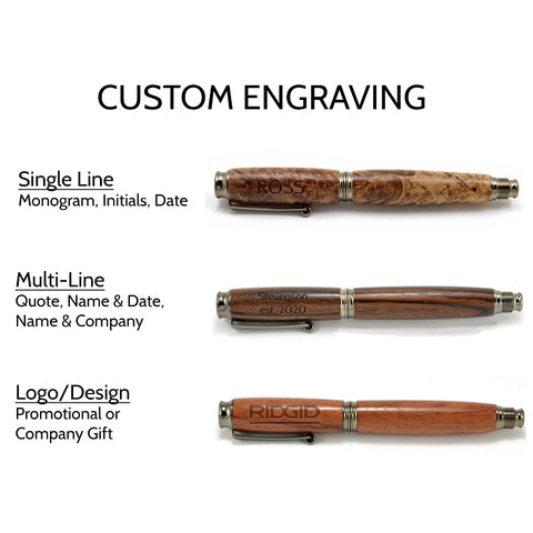 Wood Fountain Pen Engraving Options