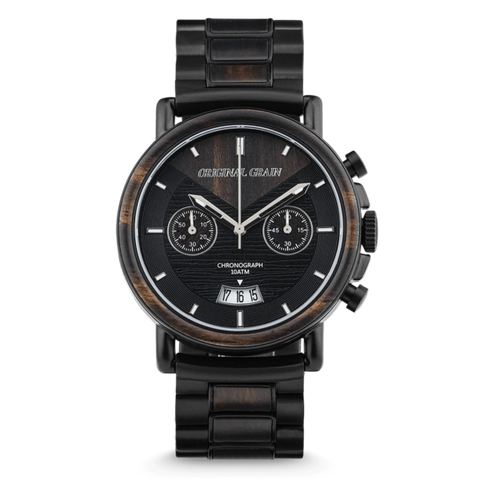 The Aviator - Alterra Chronograph Ebony Wood Watch by Original Grain