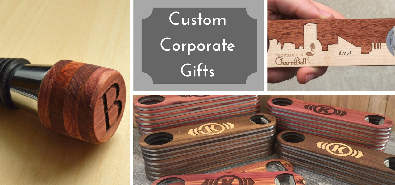 Custom Corporate Gifts Available with Text & Logo Engravings from The Wood Reserve