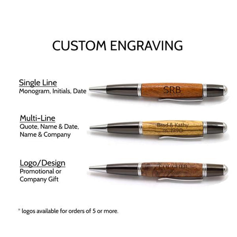 Custom Engraved Wood Pens