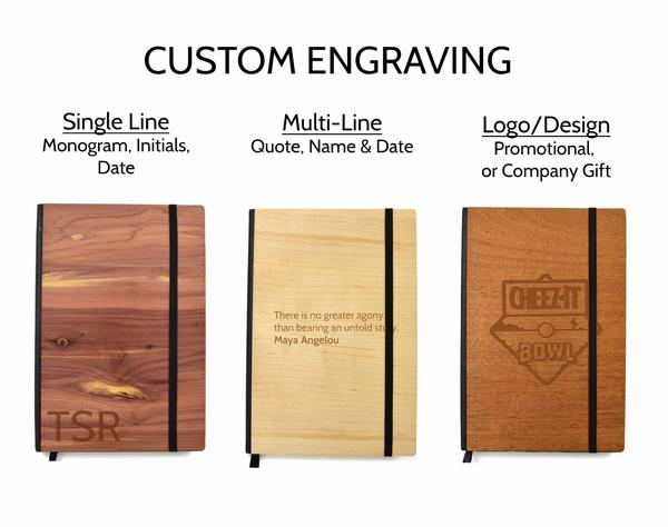Custom Engraved Wood Notebooks