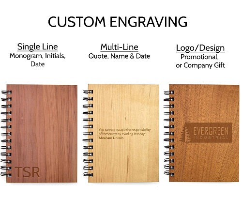 Custom Engraved Spiral Wooden Notebooks