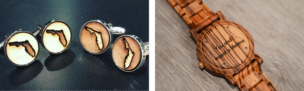 Custom Engraved Cuff Links & Wood Watch From The Wood Reserve