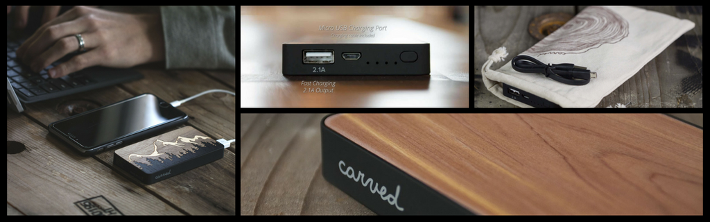 Real Wood Power Banks with 5V/2.1A Output for Maximum Charging Power From Carved