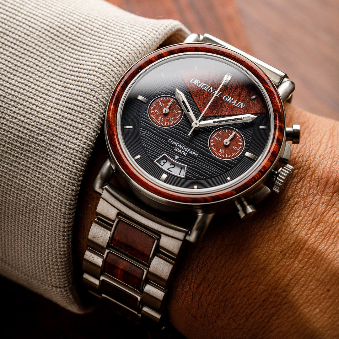 alterra chronograph redline rosewood watch stainless steel