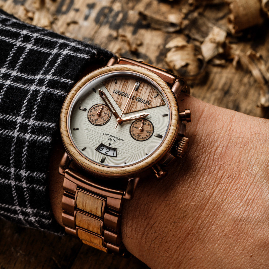 watches barrel grain solid wrist espresso wood reserve watch steel dial the original collection from whiskey products