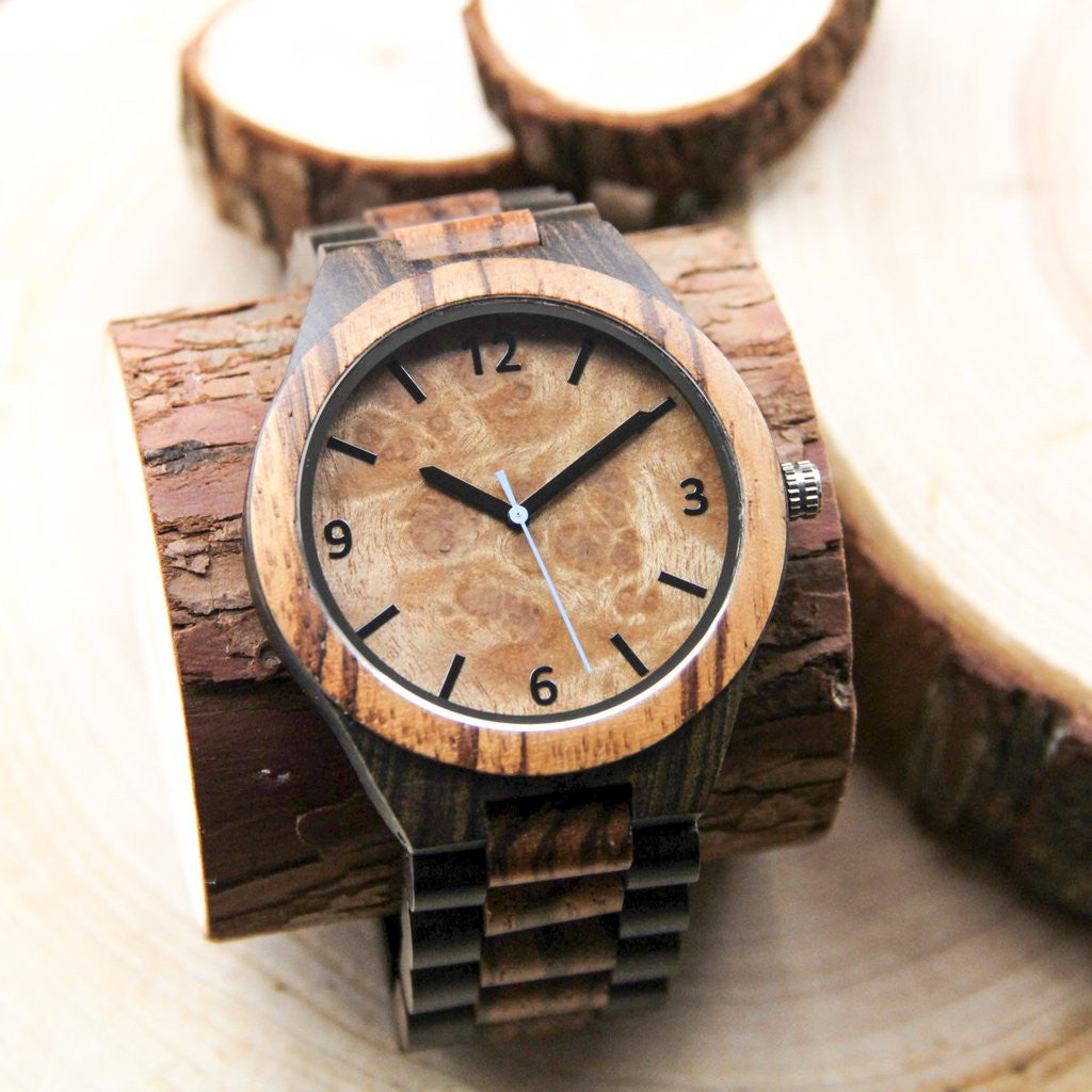 watch case blue alloy wood mental custom watches strap and leather