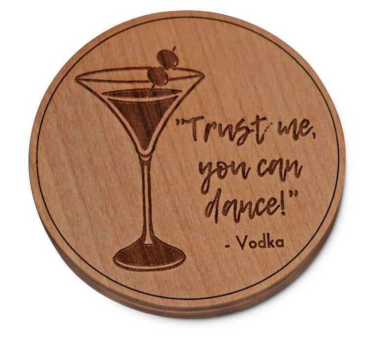 Cherry Wood Tie Bar Engraved in The USA Wooden Accessories Company Wooden Tie Clips with Laser Engraved Vodka Design