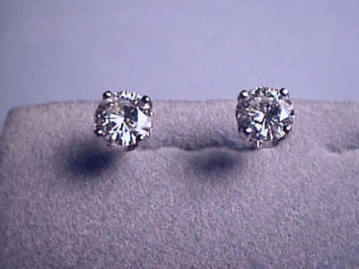 Moissanite Earrings 2 ct twt Round Screwback 4 prong 14K White Charles & Colvard