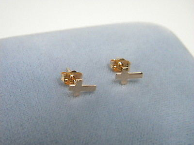 CROSS EARRINGS  14K ROSE Gold Solid Gold Studs one pair