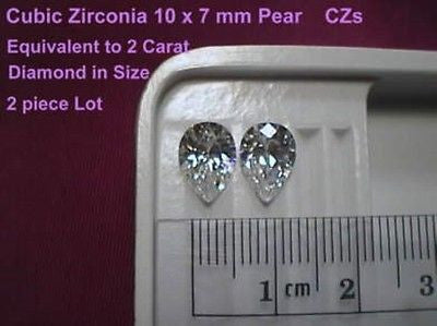 Cubic Zirconia Signity CZs Pear Shape 10x7mm Swarovski 2 piece lot 2 carat each