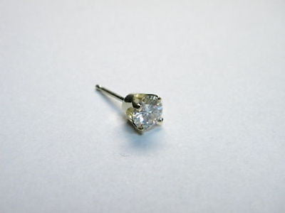 Moissanite Single Stud Earring 1/2 carat 5mm Rnd Pushback 4 prong 14K Yellow Gold