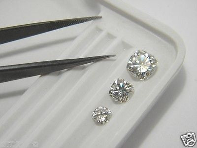 Forever One Moissanite Cushion 6.5mm 1.25+ ct equivalent Charles Colvard-Whitest Colorless D E F