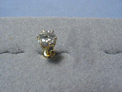 Moissanite Single Stud Earring 1 carat 6.5mm Rnd Screwback 6 prong 14K Yellow Gold