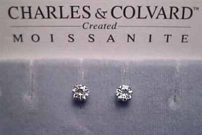 Moissanite Earrings 1 carat. twt. 14K White Gold 5mm 4 prong Charles and Colvard