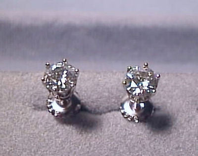 Moissanite Earrings 1 carat twt Screwback 14K White 6 prong Charles and Colvard