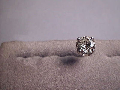 Moissanite Single Stud Earring 1/2 carat 5mm Rnd Screwback 4 prong 14K Yellow Gold