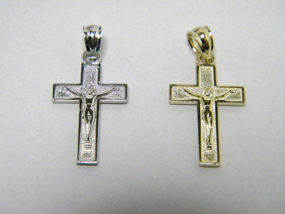 Crucifix Cross 14K White or Yellow Gold .75 inch, framed design good detail