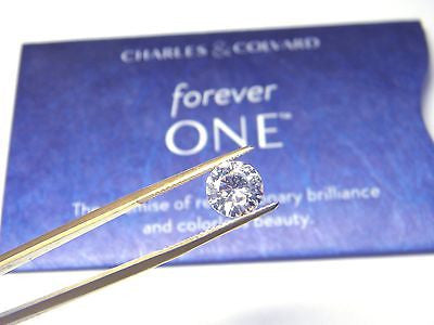 Forever One New Whitest Moissanite 6mm Round .75 carat Jewel Charles Colvard Colorless D E F