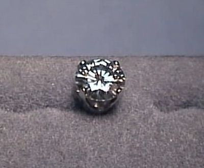 Moissanite Single Stud Earring  .80 carat 4 Prong 14K Yellow or White Gold