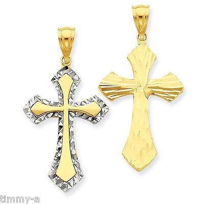 Cross Reversable 14K White & 14K Yellow 1 1/8th inch tall 2 sided bright cut