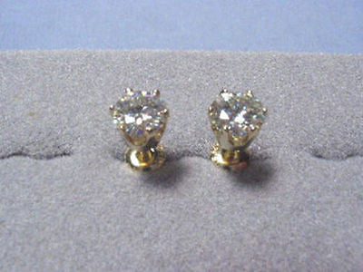 Moissanite Earrings 2 ct twt Rnd 6 prong Screwbacks 14K Yellow Charles & Colvard