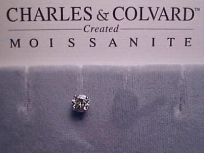Moissanite Single Stud Earring 1/2 carat 5mm Rnd Pushback 4 prong 14K White Gold