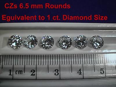 CZs Cubic Zirconia 1 ct  6.5 mm Rnds 6 pc Lot - Signity /Swarovski