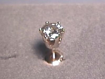Moissanite Single Stud Earring 1/2 carat 5mm Rnd Screwback 6 prong 14K Yellow Gold