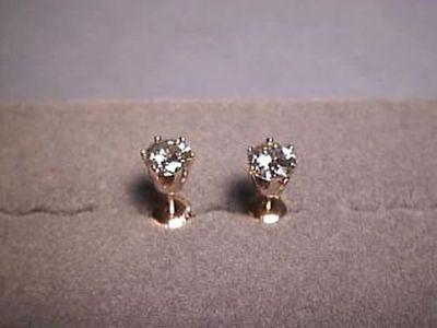 Moissanite Screwback Earrings 6 prong 1.6 carat 14K Yellow Charles and Colvard