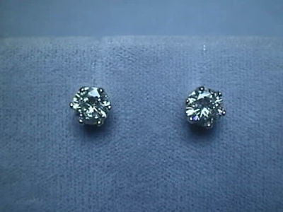 Moissanite Screwback Earrings 6 prong 1.6 carat 14K White Charles and Colvard