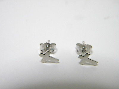 CROSS EARRINGS  14K White Solid Gold Studs one pair